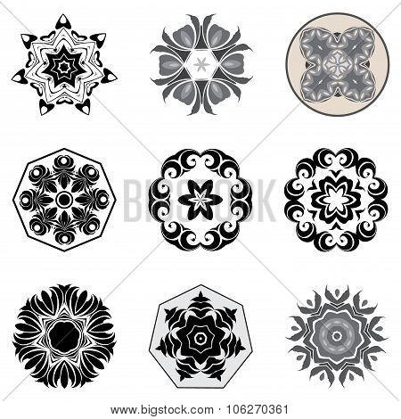 Nine black patterns.