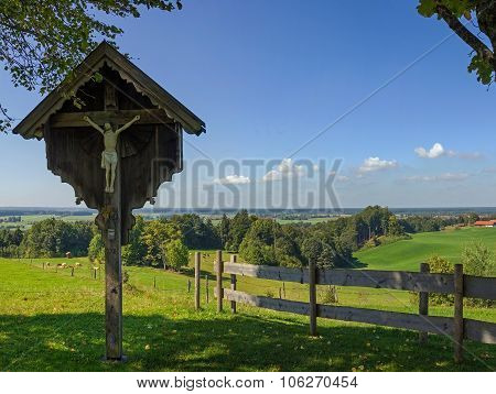 Rural Bavarian Landscape With Wayside Cross