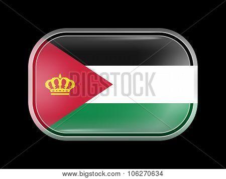 Jordan Variant Flag. Rectangular Shape With Rounded Corners