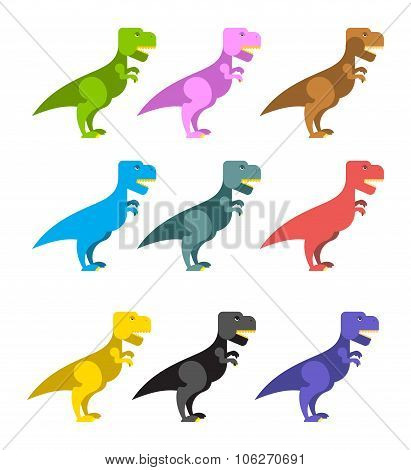 Set Of Colorful Dinosaurs. Tyrannosaurus Rex. Cute Animals Prehistoric Period. Big Scary Reptile.  A