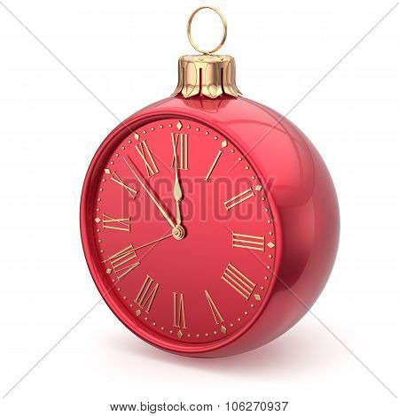 New Year's Eve Clock Bauble Christmas Ball Decoration Red