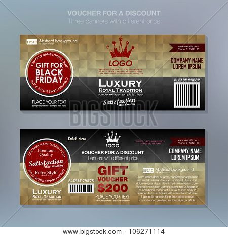 Gift voucher template with premium pattern,cute gift voucher certificate coupon design template. Certificate business card, banner card poster. Vector illustration for black friday