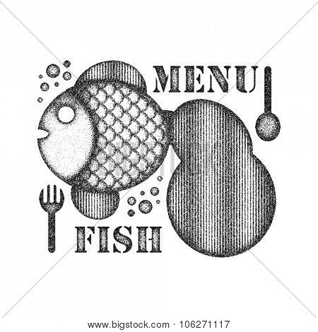 Seafood menu. Distressed style. Vector illustration.