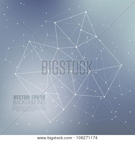 Virtual abstract background with particle, molecule structure. Science and connection concept. Social network. Abstract background with connecting dots and lines. Connection structure.