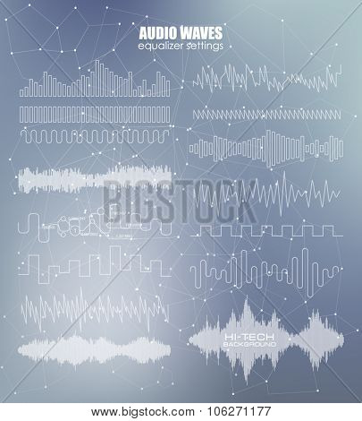 Set sound waves. Audio equalizer technology, pulse musical. Vector illustration Blurry soft creative. Music waves icons. Audio equalizer technology.