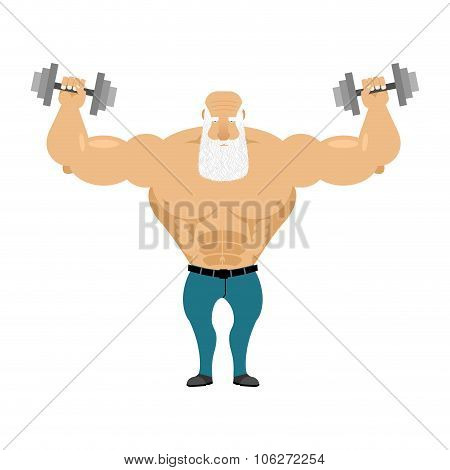 Old Santa Trains With Free Weights. Old Man With A Grizzled Beard Makes Weight Training Exercises. O