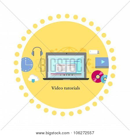 Video tutorial icon flat design style