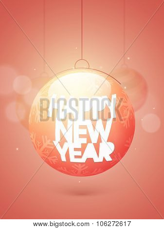 Flyer, Banner or Pamphlet with Snowflakes decorated shiny Xmas Ball for Happy New Year celebration.