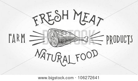 Meat knuckle in graphic style and inscriptions.
