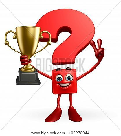 Question Mark Character With Trophy