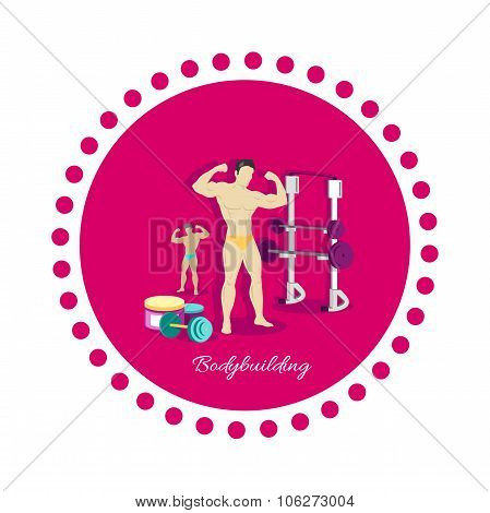 Bodybuilding Sport Concept Icon Flat Design