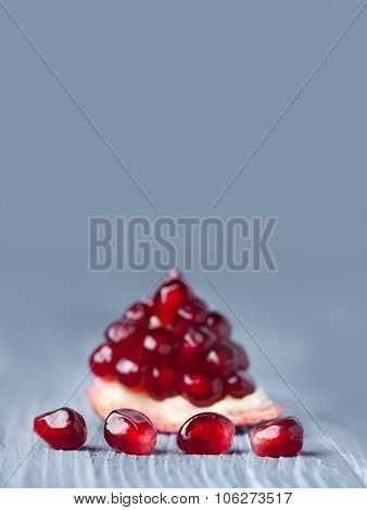 Photo poster natural pomegranate seeds. Closeup