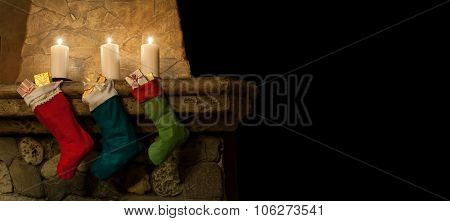 christmas chimney place interiot. stockings on fireplace background
