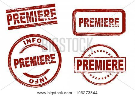 Set of stylized stamps showing the term premiere. All on white background.