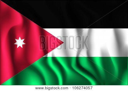 Flag Of Jordan. Rectangular Shape Icon