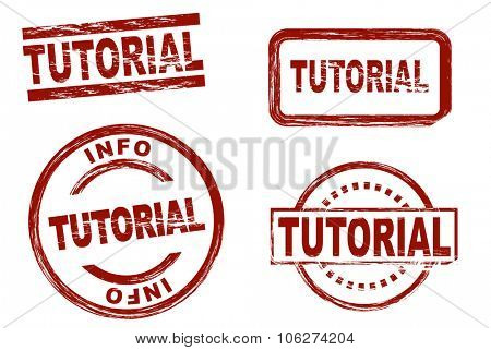 Set of stylized stamps showing the term tutorial. All on white background.