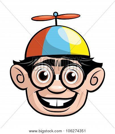 Nerd Head With A Propellor Hat