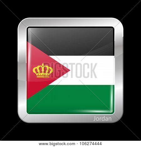 Jordan Variant Flag. Metallic Icon Square Shape