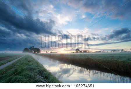 Sunrise On Dutch Farmland In Summer