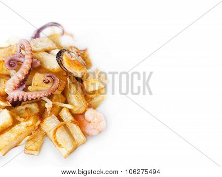 Octopus, mussel and shrimp with french fries.