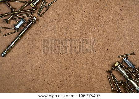 Gold screws diagonally