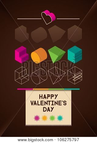Valentines's day greeting card. Vector illustration.