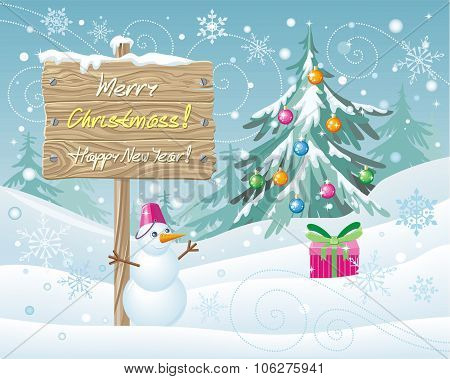 Wooden Sign Merry Christmas and Happy New Year