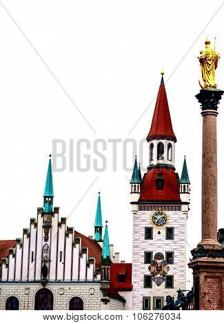 Historic buildings at the Marienplatz in Munich, Germany