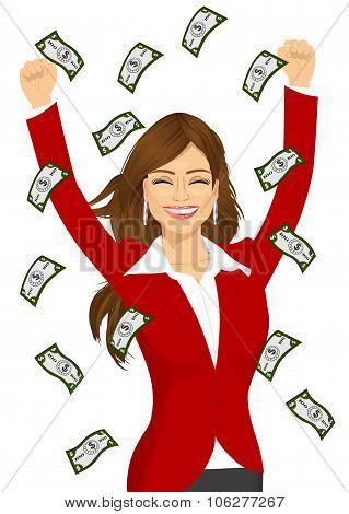 woman happy seeing raining money bills