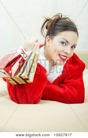 Female Santa With Gift