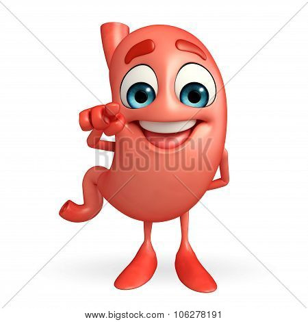 Cartoon Character Of Stomach With Pointing Pose