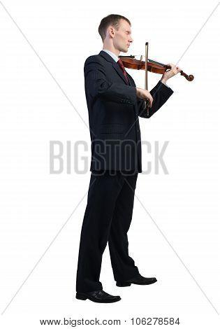 Businessman playing violin