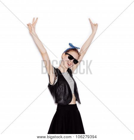Portrait Of Beautiful Cheerful Teen Girl Having Fun