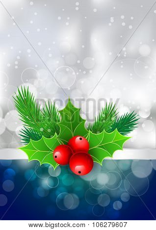 Christmas Holly With Berries And Fir Tree Branches. For  Posters, Icons, Greeting Cards, Print Proje