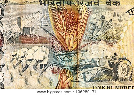 Indian Currency Note Depicting Use Of Modern Equipments And Tools In Farming