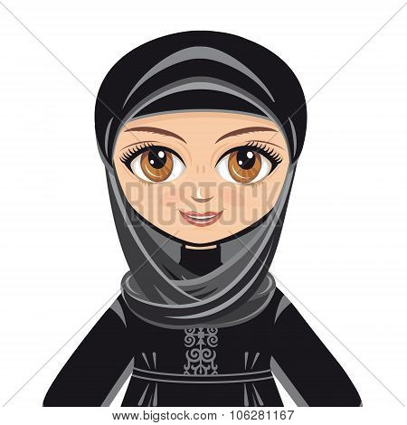 The doll in Muslim dress. Vector drawing on white background. Isolated image.