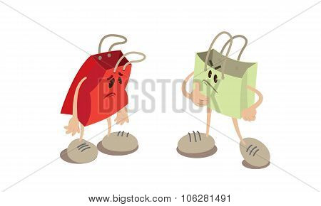 Shopping bag mascots.