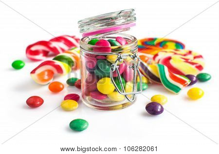 Colorful Candy In A Glass Jar