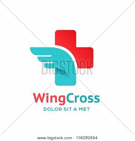 Cross Plus Wing Medical Logo Icon Design Template Elements