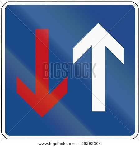 A German Regulatory Road Sign: Priority Over Oncoming Vehicles