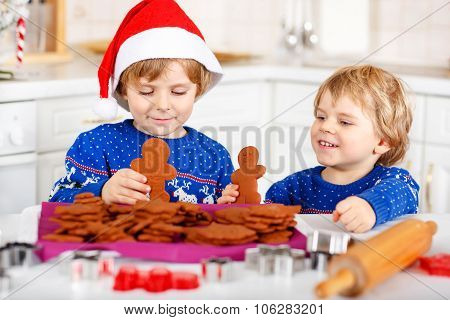 Two Little Kid Boys Baking Gingerbread Cookies