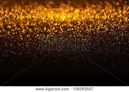 Lights Background, Abstract Gold Blur Holiday Light, Christmas Golden Glowing Bokeh