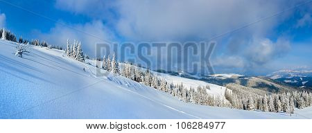 Winter Mountain Panorama Landscape.