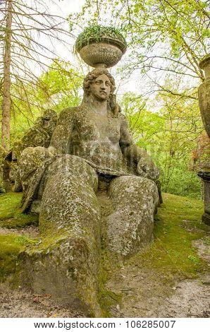 woman statue Bomarzo gardens - Viterbo - Lazio - Italy