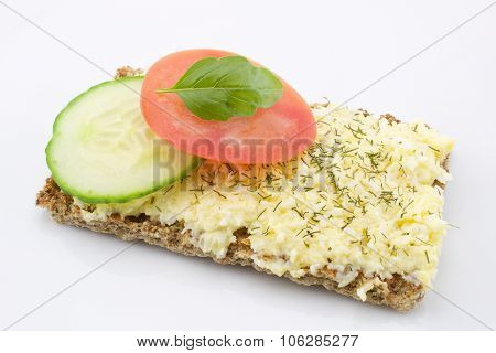 Cheese salad on crisp bread