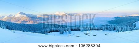 Winter Morning Mountain Panorama Landscape.