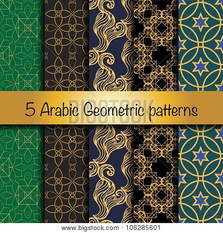 Set of 5 arabic geometric patterns.