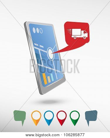 Fast Delivery Service Icon And Perspective Smartphone Vector Realistic