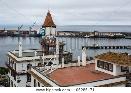 PONTA DELGADA, AZORES/PORTUGAL - CIRCA JUNE 2015: Top view of center of Ponta Delgada. City is located on Sao Miguel Island (233 km2) Region capital under the revised constitution of 1976.