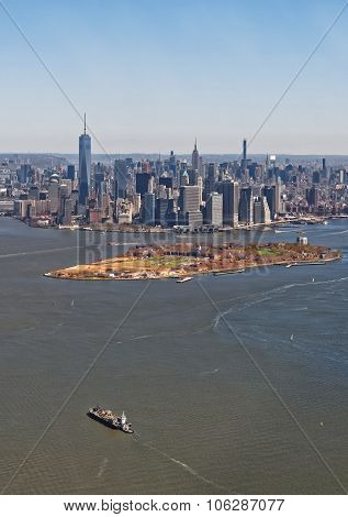 Aerial View Of Manhattan With Governors Island